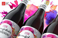 Watercolor Wine Branding - This Beaujolais Nouveau Wine Offers a Unique Artistic Element