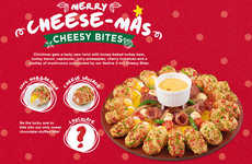 Multi-Colored Pizza Wreaths - Pizza Hut's Christmas Cheesy Bites Pizza Features Festive Breadcrumbs