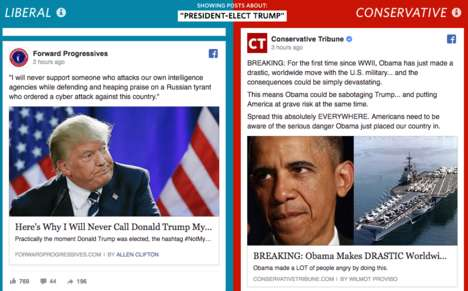 Political Social Media Comparisons - The Wall Street Journal Recently Released 'Blue Feed, Red Feed'