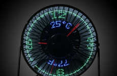 Digital Clock Fans - The USB LED Clock Fan Displays Time and Temperature While Cooling