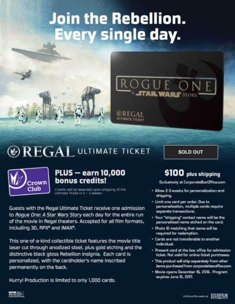 Special-Edition Movie Tickets - Regal Cinemas is Offering an 'Ultimate Ticket' to Star Wars Fans