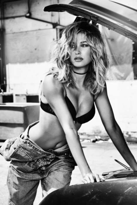 Seductive Mechanic Editorials - Hailey Baldwin Wears Branded Denim Ensembles This New GUESS Campaign