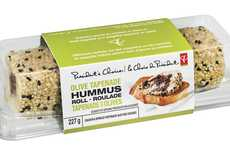 Rolled Hummus Dips - The PC Olive Tepanade Hummus Roll Chickpea Spread Boasts a Rich Flavor Profile