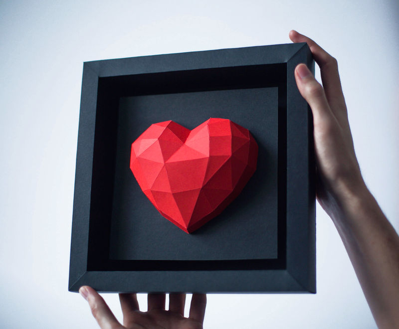 Framed Origami Hearts