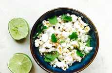 Chili Lime Popcorn Recipes - This Popcorn is Topped with Cilantro Lime and Crushed Thai Chili