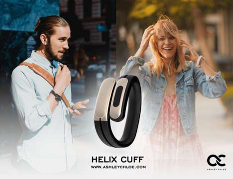 Chic Wearable Gadget Headphones - The Ashley Chloe 'HELIX CUFF' is Worn on the Wrist When Not Used