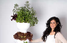 Vertical Produce Pod Gardens - The 'Foody 8' Hydroponic Garden Tower Requires No Soil to Grow