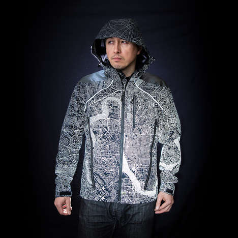 Reflective Metropolitan Map Jackets - Showers Pass' Atlas Jacket Keeps Cyclists Safe at Night