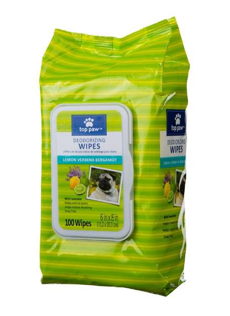 Deodorizing Dog Wipes - Top Paw's Lemon Verbena Bergamont Wipes Cleanse and Scent a Pet's Coat