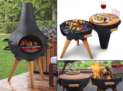 Transforming Chimney BBQs - The Aniva Cosa Grill Fire Pit Has a Multifaceted Design