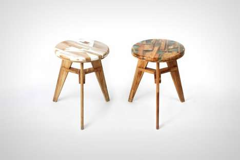 Wood Waste Stools - The 'Zero Per' Wooden Stool is Crafted from its Own Scrap Wood