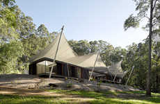 Canopy-Covered Coast Homes - The Tent House Transitions for Different Weather Conditions