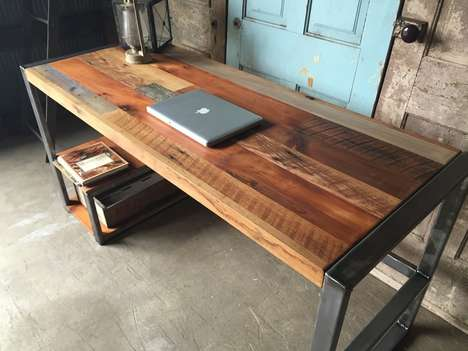 Weathered Reclaimed Wood Desks - The Reclaimed Wood Patchwork Desk by What WE Make is Rustic