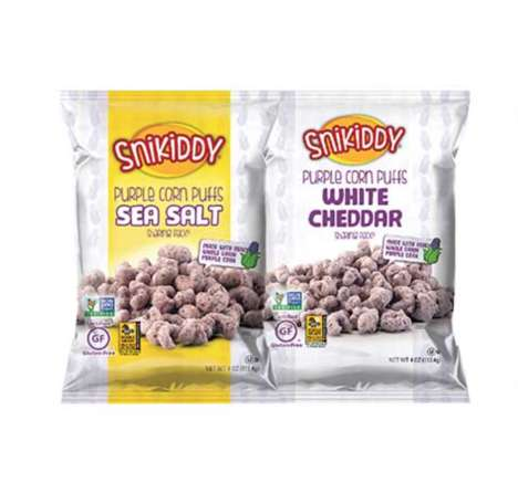Colorful Puffed Corn Snacks - The Snikiddy Purple Corn Puffs are Wholesome and Flavorful