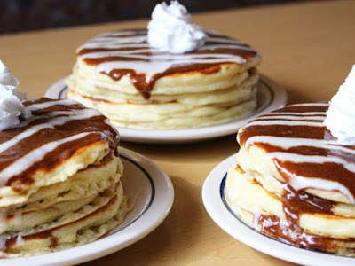 Stacked Cinnamon Roll Pancakes
