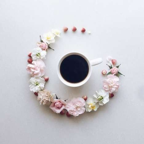 La Fee De Fleur Turns Morning Coffee Into Elegant Floral Arrangements