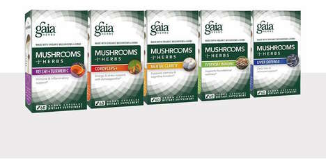 Mushroom Superfood Supplements - Gaia Herbs' Newest Natural Supplements Pair Mushrooms and Herbs