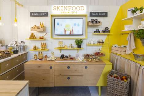 This Skinfood Paris Popup Features Kitchen-Themed Shelving