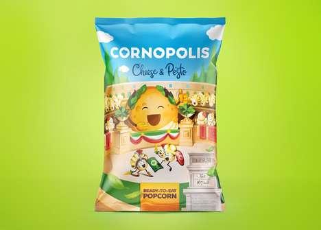 Cheesy Pesto Popcorn