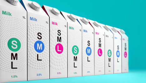 Clothing Size-Inspired Dairy Branding - The SML Milk Cartons of Milk Packaging is Textured