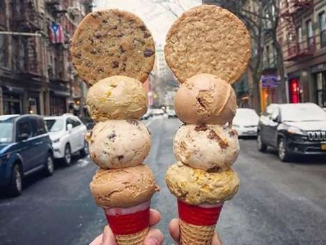 Cookie-Topped Dessert Cones - The Oddfellows Ice Cream Company Serves a Tall Ice Cream Treat