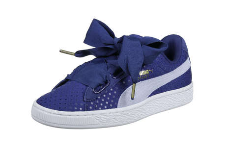 Denim Bow-Accented Sneakers - The New Puma Basket Heart Denim Sneakers Have a Feminine Aesthetic