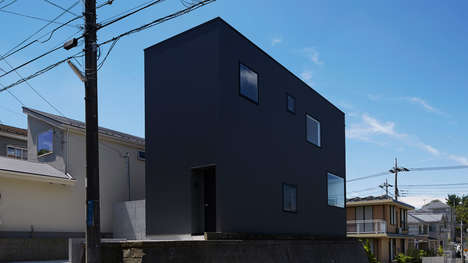 Monolithic Corrugated Homes - TakaTina's Tokyo Home is Covered in a Pitch Black Corrugated Facade