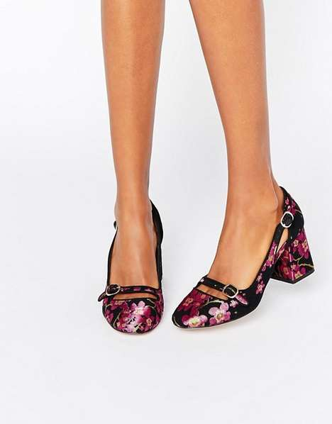 Woven Floral Heels
