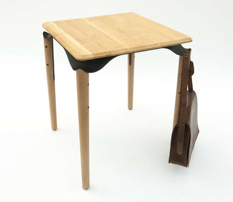 Bag-Holding Bistro Tables - Phebos Xenakis' Trapesi Table's Creative Leg Joints can Hold Bags