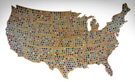 Interconnecting Bottle Cap Maps - The Beer Cap Maps USA Puzzle Map Incorporates 48 States
