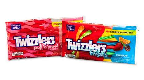 Resealable Candy Bags - Twizzlers' Bags Reduce Packaging Film and Encourage Portion Control