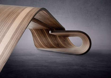 Sculptural Folded Wooden Desks