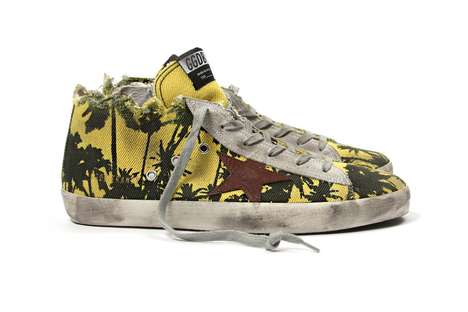 Distressed Tropical Sneakers - The New Golden Goose Sneakers Feature Palm Trees and Torn Edges