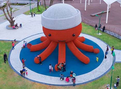 Oversized Octopus Playgrounds - The 'Kraken' Outdoor Playground is for Kids and Adults in Shenzhen
