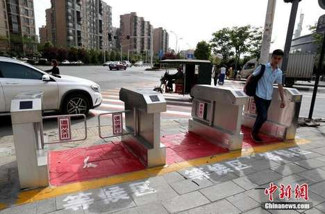 Safety-Enforcing Crosswalk Gates - China's Jaywalking Turnstiles Prevent Crossing Against the Light