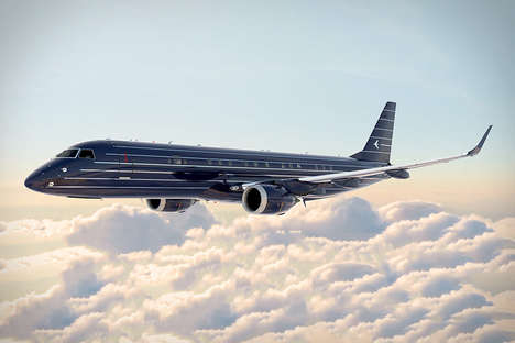 New York-Inspired Jet Planes - The Embraer Manhattan Jet Features a Pinstripe Suit Paint Job