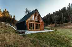 Cutesy Woodland Cottages - The Wooden House by Studio PIKAPLUS Sits in the Hills of Slovenia