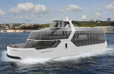 Solar Electric Panoramic Ferries - The Dolphin Sea Transportation Vehicle Seats Up to 300 Passengers