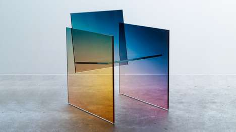 Chromatic Plate Glass Chairs - Germans Ermics' Ombre Chairs Reference Shiro Kuramata