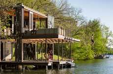 Salvaged Wooden Boathouses - Andersson-Wise's Bunny Run Boat Dock is on Lake Austin