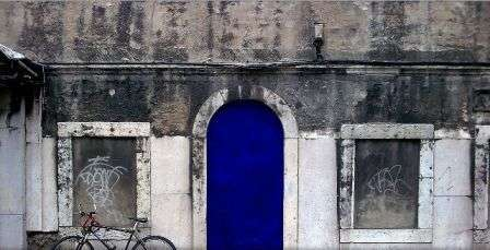 Bright Blue Doors - Lisbon Street Art Features Indigo Paint and Portuguese Poetry