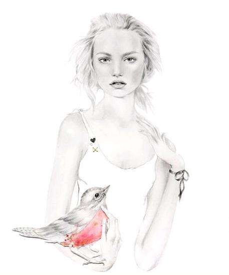 Romantic Fashion Illustrations - Delicate Artwork Inspired by Contemporary Designers and Pop Icons