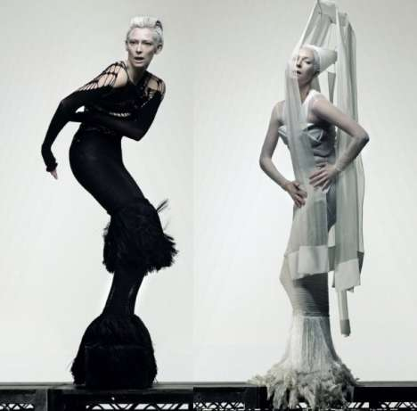 Chess Piece Couture - Tilda Swinton Turns a Futuristic Eye to Craig McDean in AnOther Magazine