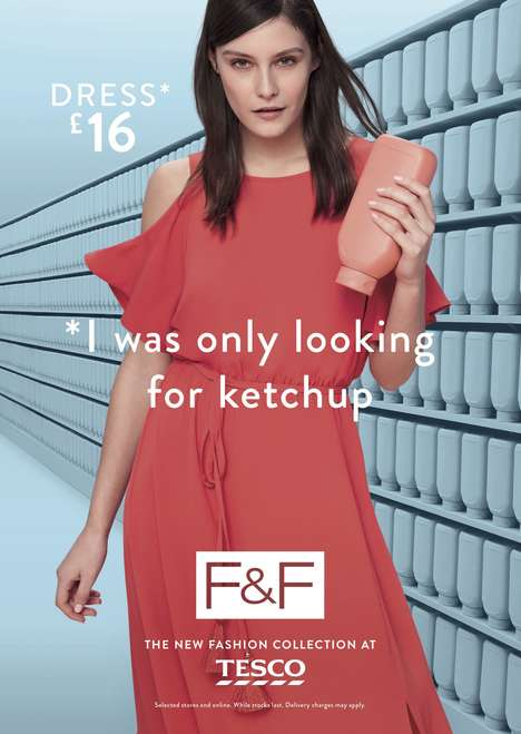 Fashion-Focused Supermarket Ads - These Tesco Ads Highlight F&F Clothing from a Supermarket