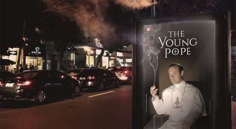 Smoking TV Posters - This Billboard Poster for the Young Pope Releases White Clouds of Smoke