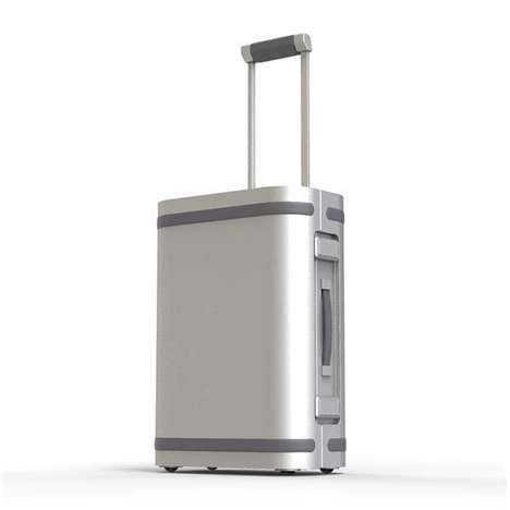 App-Enabled Smart Luggage - The 'Samsara' Aluminum Suitcase Charges Devices and Tracks Location