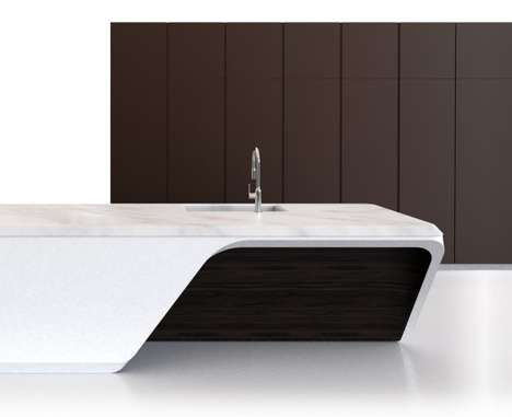 Corian-Covered Kitchen Islands - The Boffi_Code Kitchen was Created by Zaha Hadid Design and Boffi