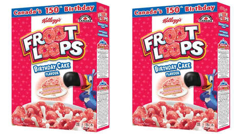 Special Edition Sesquicentennial Cereals - The Kellogg's Birthday Cake Froot Loops Celebrate Canada