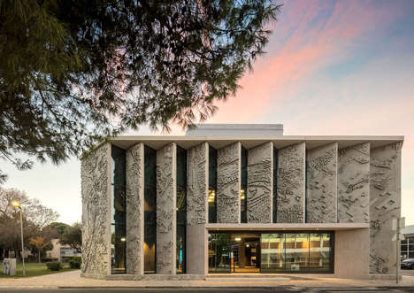 Louvered Bas-Relief Facades - GS1 Portugal's Facade has an Angular, Sculptural Mural