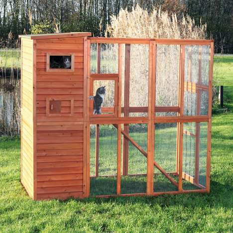 Backyard Cat Enclosures - Trixie's 'natura Wooden Cattery' is a Safe, Entertaining Outdoor Space